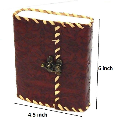 Hand Tooled Embossed  4.5x6  Leather Bound Journal With Side Stitched