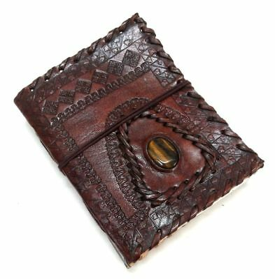 Hand Tooled Embossed   3x4  Leather Bound Journal With Tiger Eye Gemstone