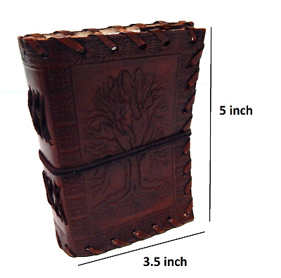 Hand Tooled Embossed  Life Of Tree 3.5x5  Leather Journal With Side Stitched