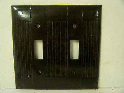 Vintage Double Switch Cover Plate Brown Ribbed & Smooth Vtg. Eagle Made in USA