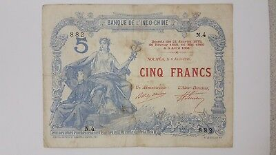1916 New Caledonia - 5 Francs  issued by  Banque de Indochine