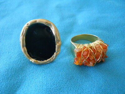 Lot of 2 Gold Tone Rings - Hammered Black & Coral Gemstone-Weave Design-size 10