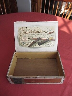 Vintage Resolution Cigar Box 50 Cigar Tax Stamp Series of 1883 TC122A