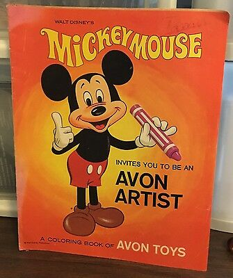 Mickey Mouse Invites You To Be An Avon Artist Coloring Book - 1969 - No Reserve