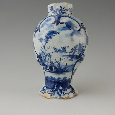 Antique 18th Century Delftware Vase, Decorated with a Fisherman.