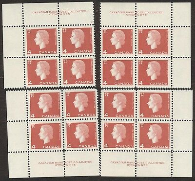 Stamps Canada # 408, 4¢, 1963, 4 plate blocks of 4 MNH stamps.