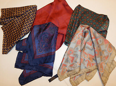 Lot 5 100% Silk Pocket Square Handkerchiefs  17""