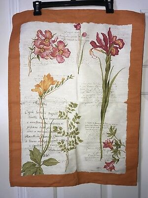 Vintage Tea Towel Mid Century Linen Blend New Old Stock Italy Floral