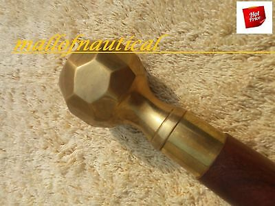 SOLID  brass Antique Style Brass Wood stick  Victorian Walking Stick