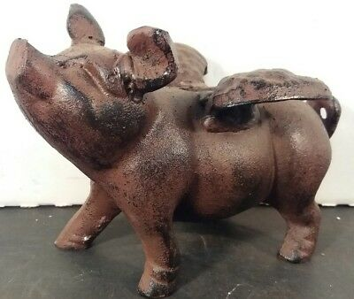 HEAVY Cast Iron FLYING PIG Rustic Brown WINGED PIGGY BANK Paper Weight