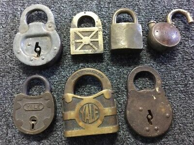 LOT OF 7: Vintage/Antique Padlocks (Yale, Six Lever)