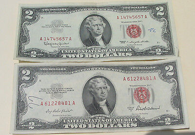 3/SET: Red Seal $2 Bills(One1953 & One1963)+1 Old Cent US Coin;BIG SALE,So Rare