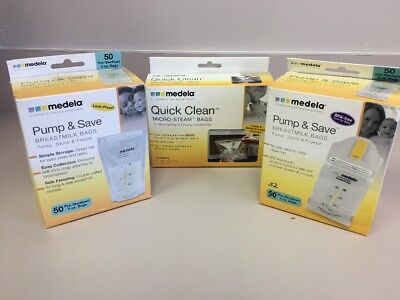 Medela Pump and Save Breast Milk Bags, 72 Count  And 5 Micro-steam Bags