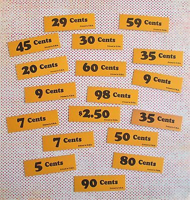 Eighteen Vintage Price Tags / Markers