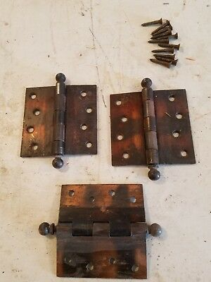 Vintage  4 x 4  Stanley Brass Steel  Cannonball Hinges antique lot of 3 w screws