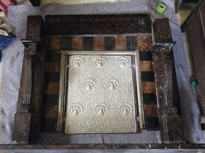 Antique Marble Fireplace Surround And Firebacker