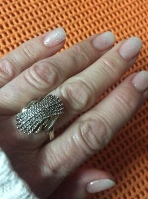Vtg Antique Sterling Silver Genuine Diamond Ring Real 925 Pave Set Tested Sz 6.5