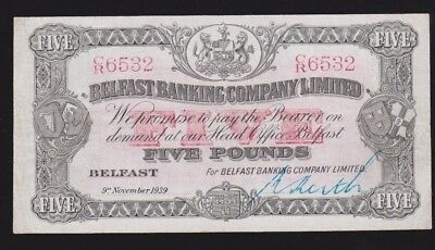Ireland Northern Belfast Banking 5 Pounds 1939 P#127b Condition  VF+ Rare Note