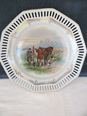 Schuman Bavaria Us Zone Germany Plate/dish Fox Hunt With Hounds Trimmed W/gold