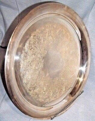 "Vtg WM Rogers Large Round Silver Plate Serving Tray 12¼"" hallmark Eagle Star 471"