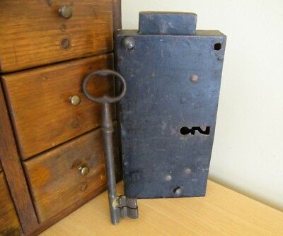 Large Antique Jail Cell Jailhouse Prison Door Lock Box with Key