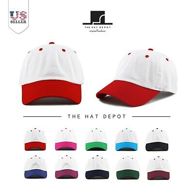 Two Tone  Low Profile Cotton Six Panel Baseball Cap Hat