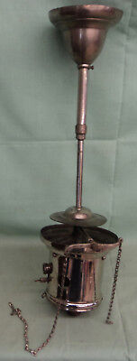 """Vintage Early Nickel Brass Ceiling Hollow Wire Gas Light Fixture 20 ½"""" Tall #2"""