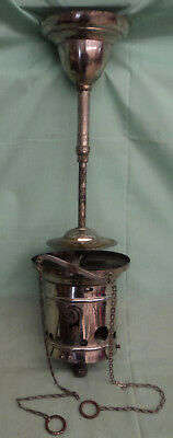 """Vintage Early Nickel Brass Ceiling Hollow Wire Gas Light Fixture 20 ½"""" Tall #3"""