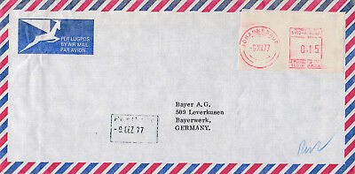 South Africa metered Airmail Cover Johannesburg to Bayer AG Leverkusen Germany.