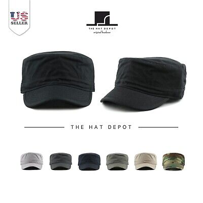 Cadet Hat - The Hat Depot Army Washed Cotton Basic Military Style Cadet Cap