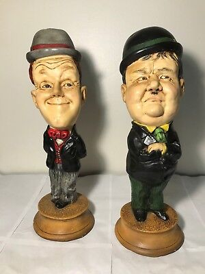 """Vintage Pair Laurel And Hardy Chalkware Statues Figures 16"""" Comedians Tv Show"""