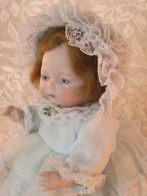 """Tynie Baby Horsman All Bisque 8"""" Antique Reproduction  Mohair Wig, Clothes, Sgnd"""