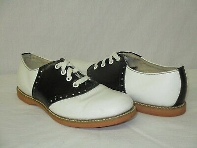 Vintage Willits USA Black & White Leather Lace Up Saddle Oxfords Cheer Size 8