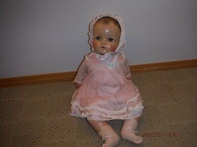 VINTAGE 1920's - 1930's COMPOSITION BABY DOLL with additional antique clothes