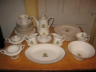 SYRACUSE CHINA VIKING pattern Fine China x37 Teapot Plate Cup Bowl SERVICE for 6