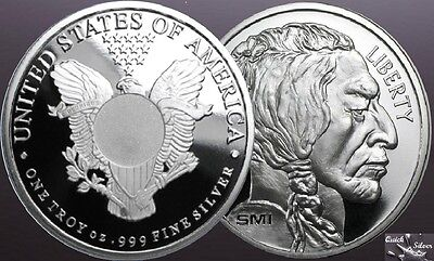 Lot of 2-1 oz Silver Rounds: SMI Liberty & Buffalo *.999 fine & MintMark SI*