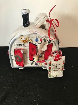 "blue sky clayworks.  ""Prancers hot chocolate stand"" candle house Christmas"