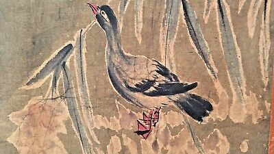 Antique Oriental Painting on Textile Scroll Canvas, Natural Duck Landscape Scene