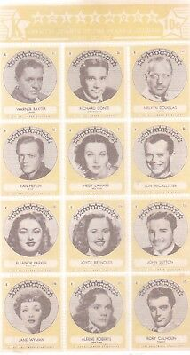 1940's HOLLYWOOD STAMPS OF THE STARS AND STUDIOS FIRST SERIES-K-YELLOW VERSION