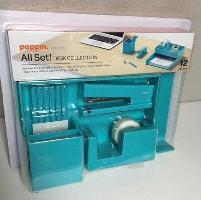 Poppin All Set! 12-Piece Desk Collection, Teal