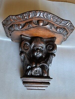 Antique 19Th Century French Tiger Oak  Sconce Shelf Carved Column Cupid