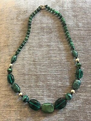 Stunning Vintage Czech Green Glass Necklace Rare Art Deco Bead Marbled Retro VGC