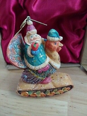 G. DeBrekht Santa on turkey ornament 2011