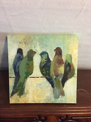 Colorful Canvas Painting Birds On A Wire Blues/Greens/Reds EUC