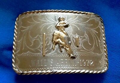 Antique Vintage **1972 RICARDO COWBOY RODEO TROHPY BELT BUCKLE**---WALL'S ARENA