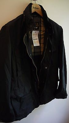 Barbour Men's Tailored Sapper Waxed Jacket, New With Tags, Navy Blue, Medium