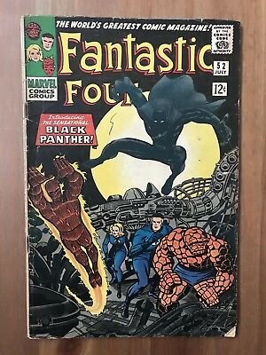 Fantastic Four 52 (Marvel, 1966) 1st Appearance of the Black Panther  KEY!