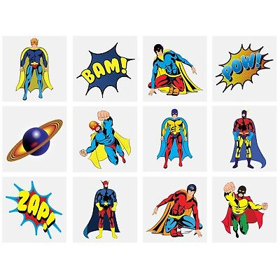 Childrens Tattoos Super Heroes - Party Bag Fillers - Boys Girls Temporary Tattoo