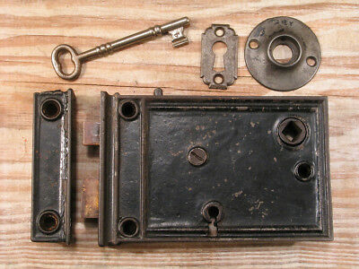 Victorian Door Rim Box Lock Set w Skeleton Key & Brass Bolts #1
