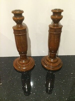 Two Vintage Solid Oak Candlesticks c Late 19th - Early 20th Century.